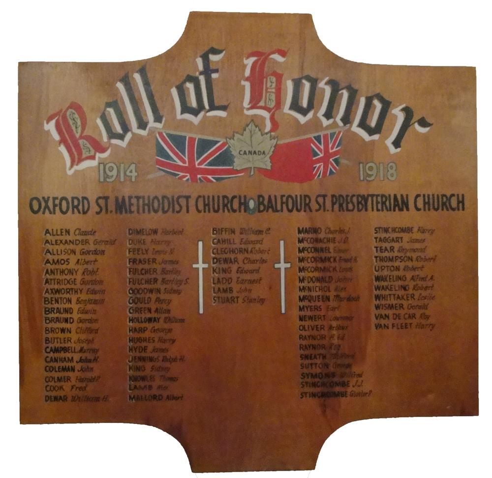 Balfour Street United Church, Brantford, Ontario First World War