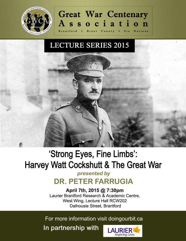 Harvey Watt Cockshutt - Great War Centenary Association - Brantford, Brant County, Six Nations - First World War