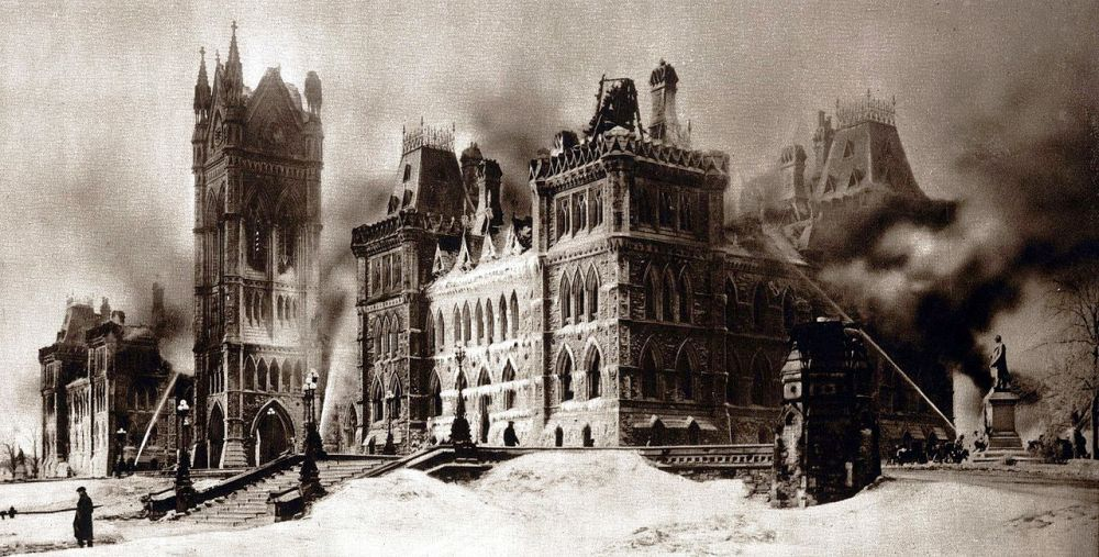 100th Anniversary of the Fire on Parliament Hill, Ottawa Ontario.  German Saboteurs Suspected