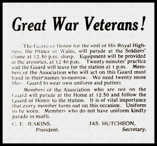 Great War Veterans notice