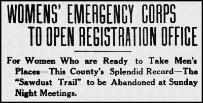 Brantford Women's Emergency Corp headline March 10th, 1916