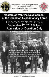 Norm Christie Talk - Masters of War - Brantford, Ontario - September 27, 2016
