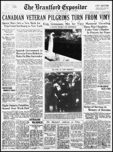 Vimy Ridge Memorial - July 26, 1936